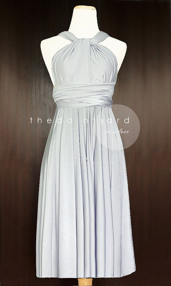 Short Straight Hem Silver Bridesmaid Dress Convertible Infinity ...