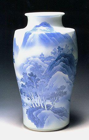 青華山水花瓶