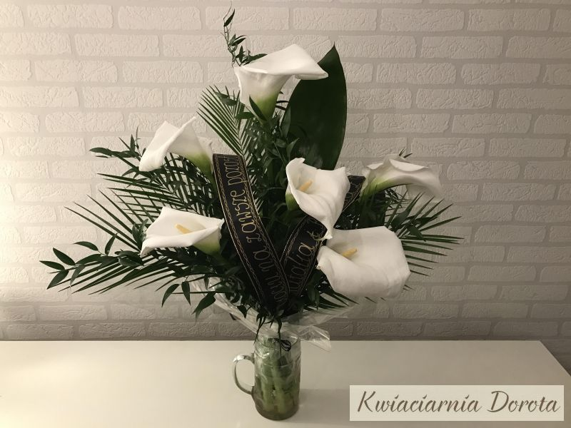 Bukiet Pogrzebowy Z 5 Kalii Oraz Zieleni Dekoracyjnej Plants Flowers