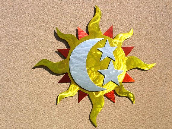 Sun Art Outdoor Metal Wall Art Sculpture Large Sun Moon Stars | Home ...