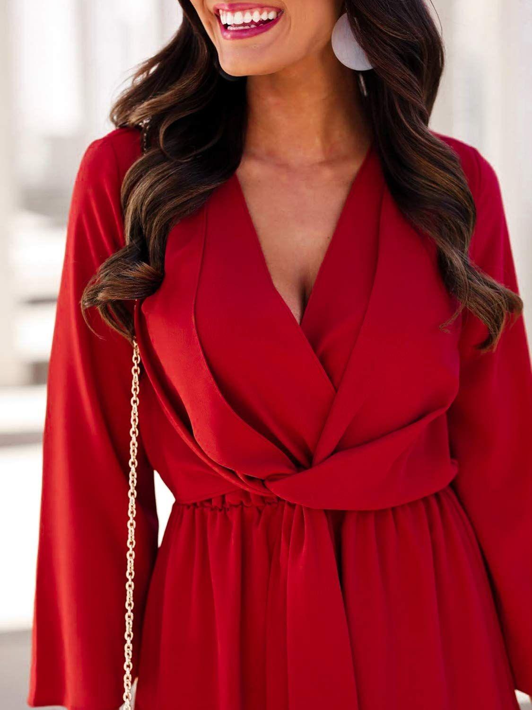 Miessial Women S Long Sleeve Chiffon Mini Dress V Neck Tie Waist Shirt Dress Chiffon Long Sleeve Chiffon Mini Dress Women Long Sleeve [ 1500 x 1125 Pixel ]