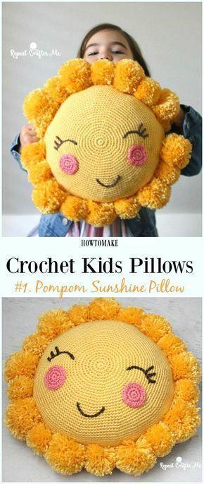 Fun Crochet Kids Pillows Free Patterns Hobi Pinterest Crochet