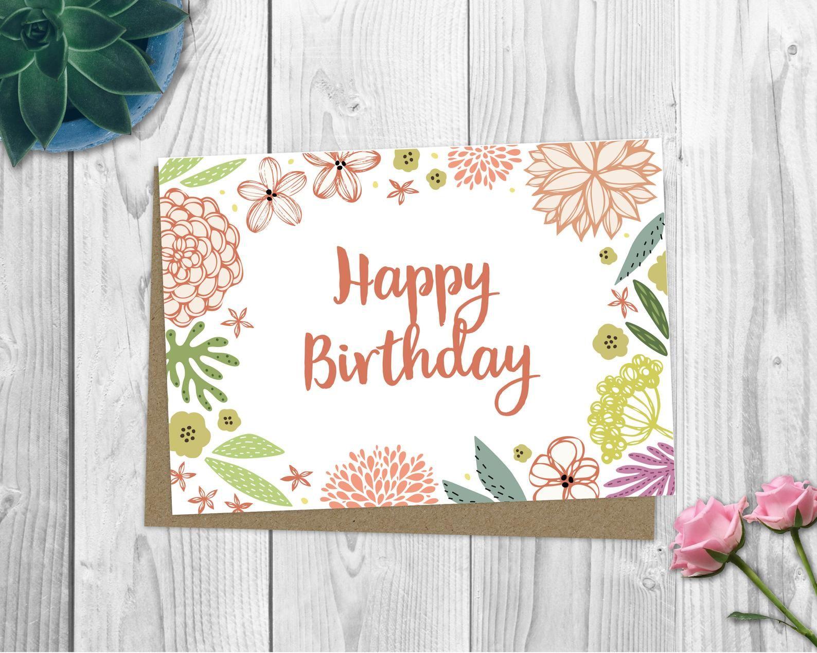 Happy Birthday Card / Happy Birthday Flower Card / Cute  Etsy