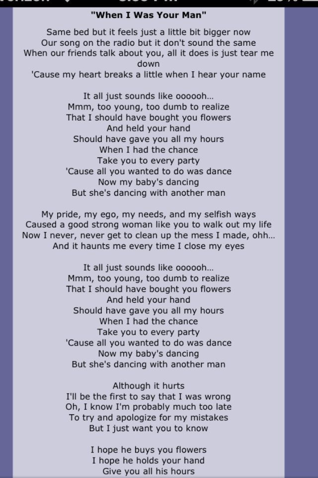 Lyric man song lyrics : Bruno Mars / When I was your man | Quotes | Pinterest | Bruno mars ...