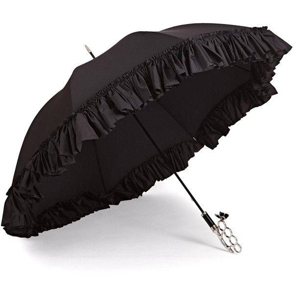 f5b0121c33ab6 Gizelle Renee - The Nirvana Umbrella Frilly Long Black Umbrella ( 530) ❤  liked on