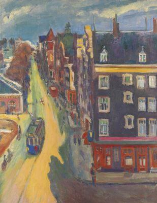 The Geldersekade in Amsterdam - Jan Wiegers Dutch 1893-1959 Expressionism