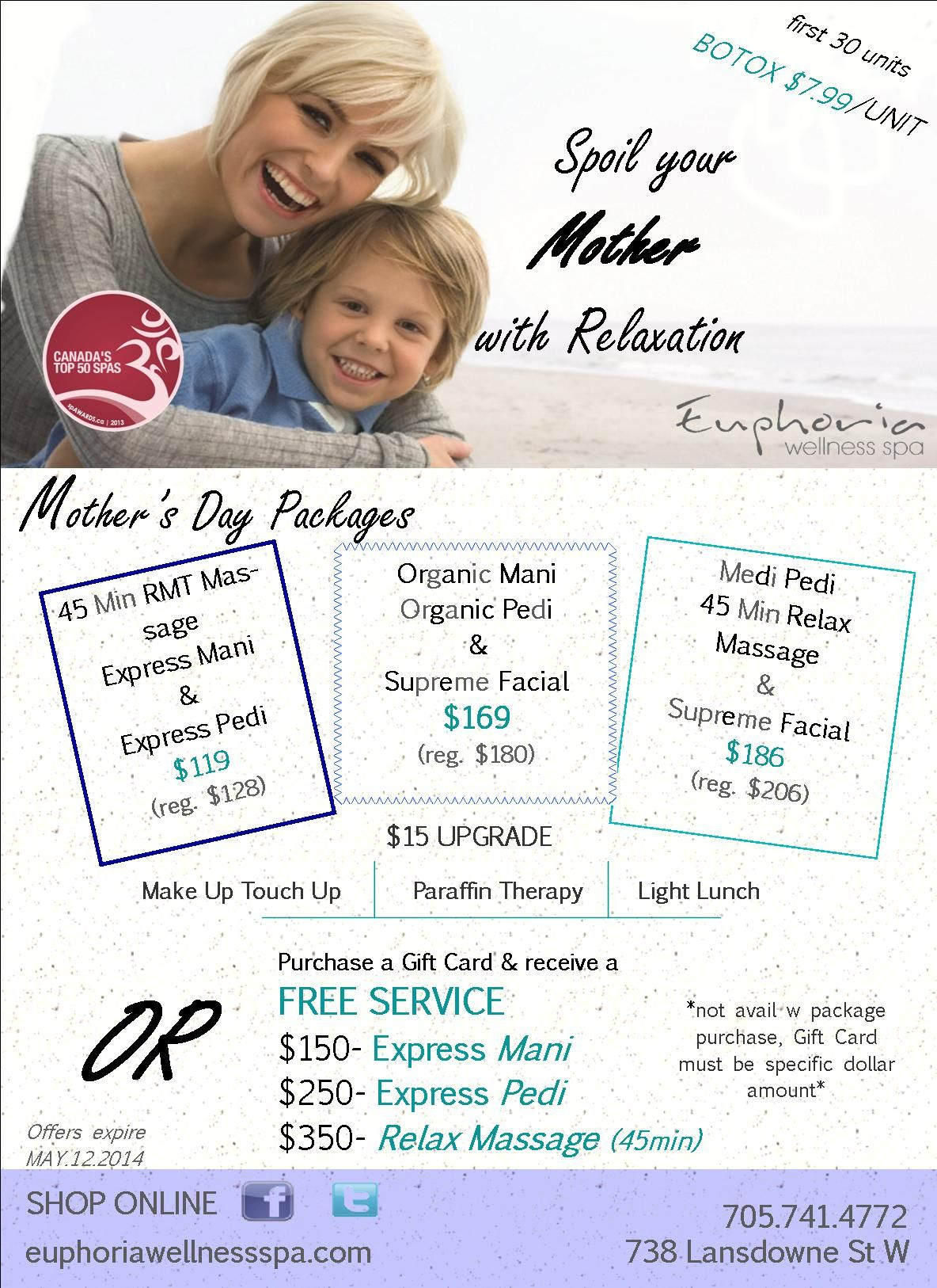 Mothers day is coming may 11th giftcard massage