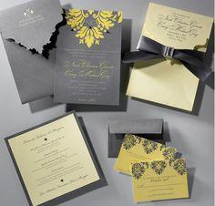 Grey And Yellow Wedding Invitations Sök På Google