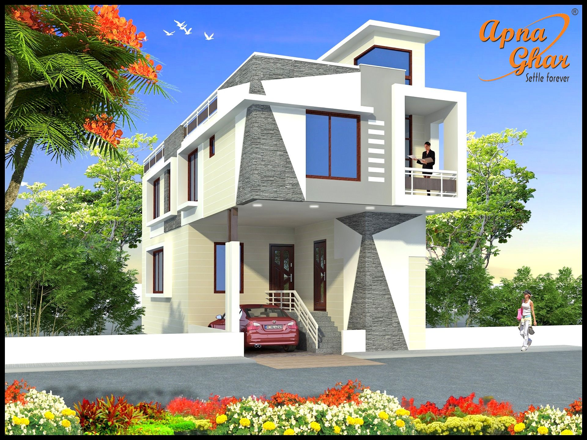 4 bedrooms duplex 2 floors home area 90m2 6m x 15m for 10m wide home designs