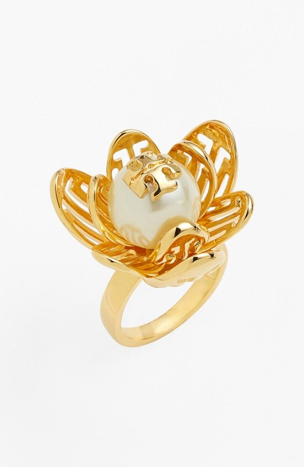 This Tory Burch 'Caras' logo faux pearl ring sure is a treasure.