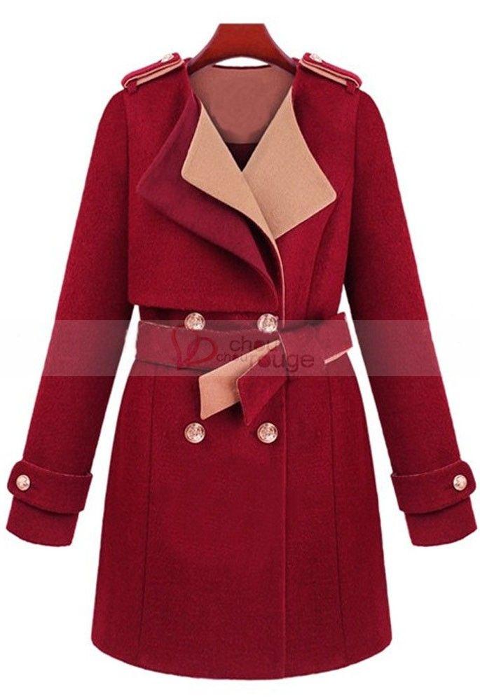 Manteau De Soiree Chic Couleur Rouge Ecarlate Ou Beige Et Doublure