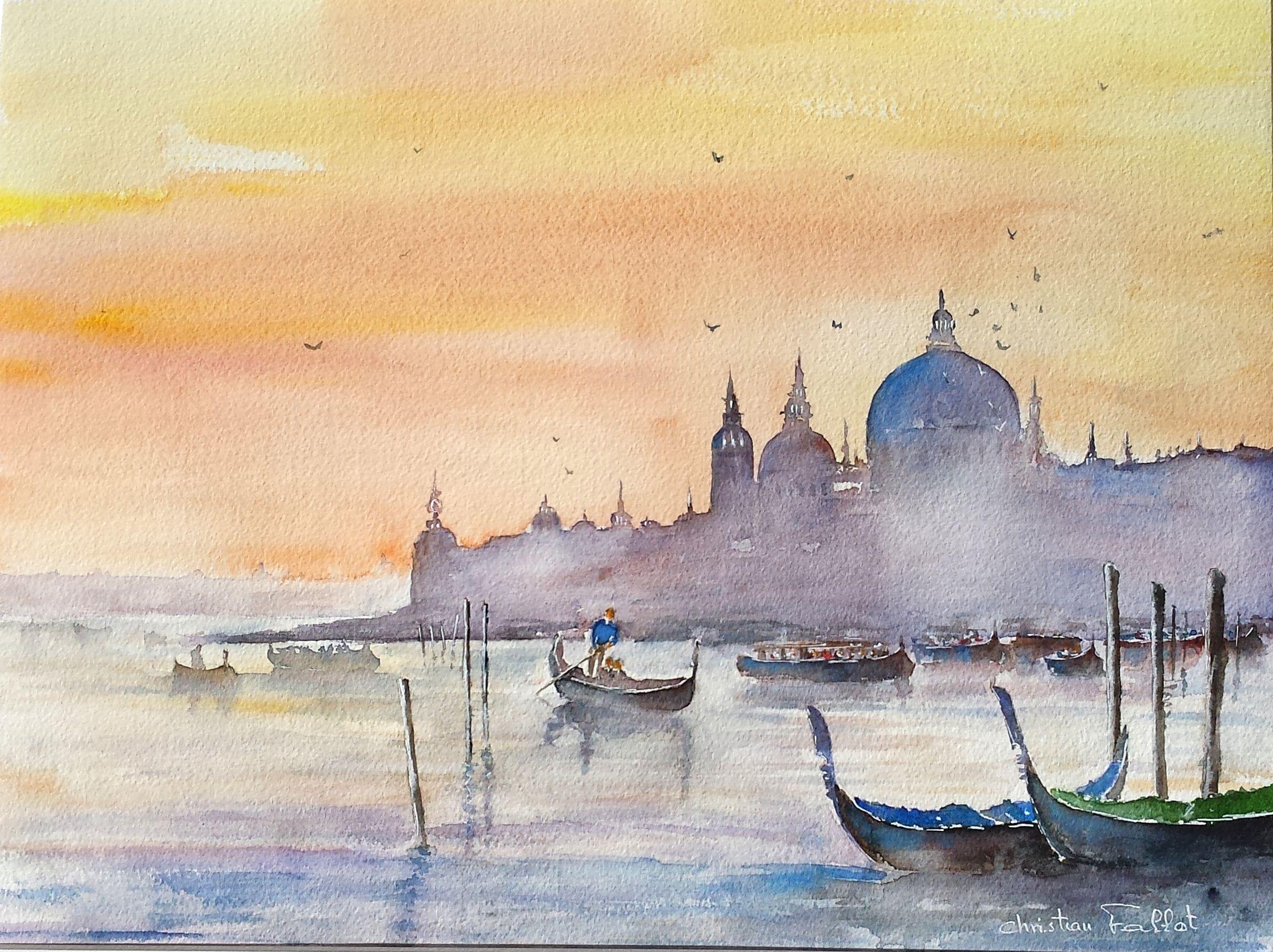 Christian Fallot Aquarelle Venise Sous Brume Peinture Oiseau