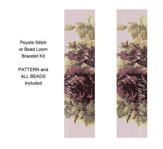 Peyote Stitch or Bead Loom Bracelet Kit - Tapestry Roses - Pattern for Bead Loom or Peyote Stitch Bracelet and All Beads Included