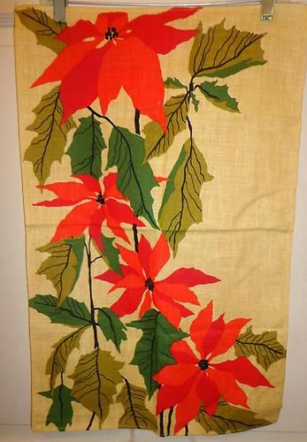 "27 X 16""  Vintage Beautiful Poinsettia Christmas Linen Tea Towel, Table Center"