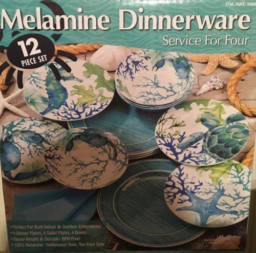 New 12 Piece Melamine Dinnerware Set Dishwasher Safe & New 12 Piece Melamine Dinnerware Set Dishwasher Safe | Melamine ...