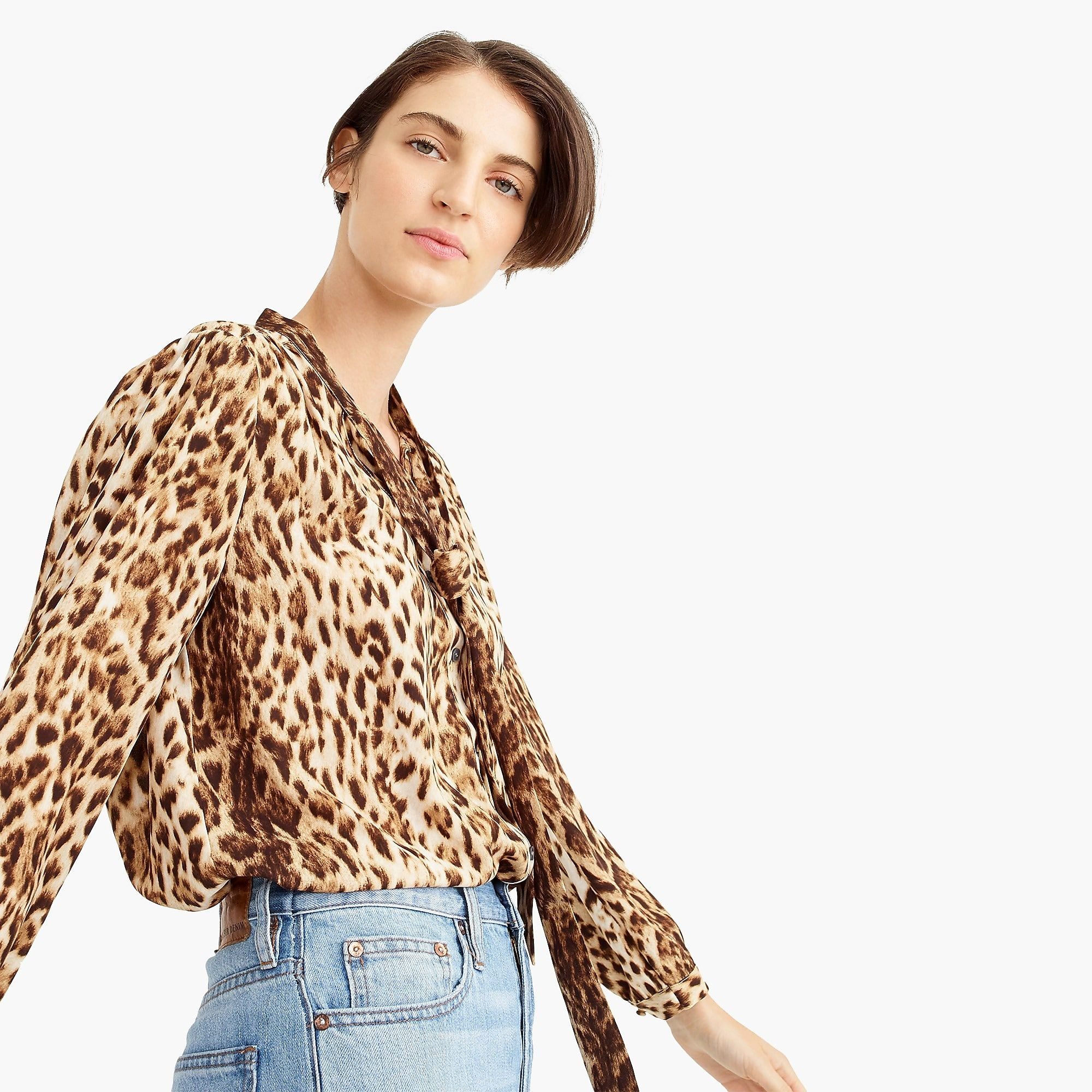 9a2f6f71d447f Tie-neck button-up shirt in leopard print