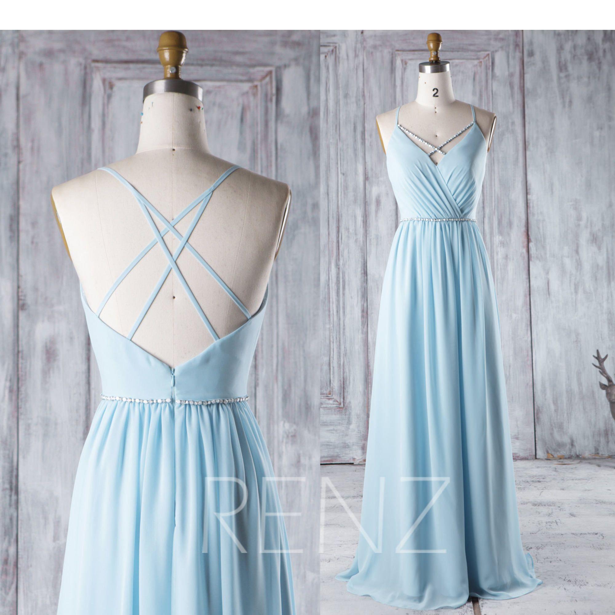 Bridesmaid dress light blue chiffon dresswedding dressspaghetti
