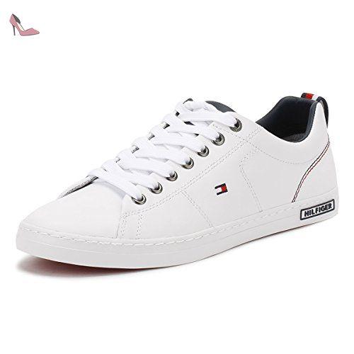 Tommy Hilfiger Hommes Blanc K2285AY 1A Basket-UK 8 - Chaussures tommy  hilfiger (*