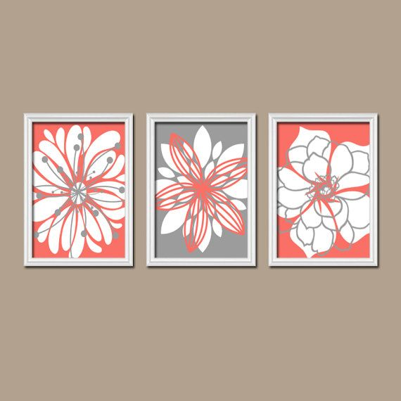Flower Wall Art Canvas Or Print Kitchen Wall Art Bedroom: CORAL GRAY Flower Wall Art Canvas Or Prints Floral