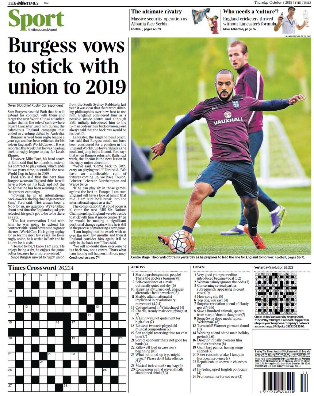 Thursday's Times back page: Burgess vows to stick with union to 2019 #tomorrowspaperstoday #bbcpapers http://t.co/tYSrhqE2LR