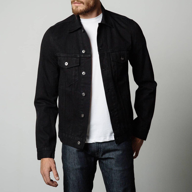 Mens Denim Jacket In Worn Black | Denim jacket men ...