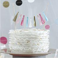 Confetti Party Tassel Cake Bunting Topper