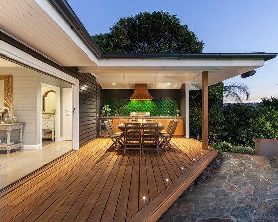 terrasse garten holz dielenboden outdoor küche überdachung ...