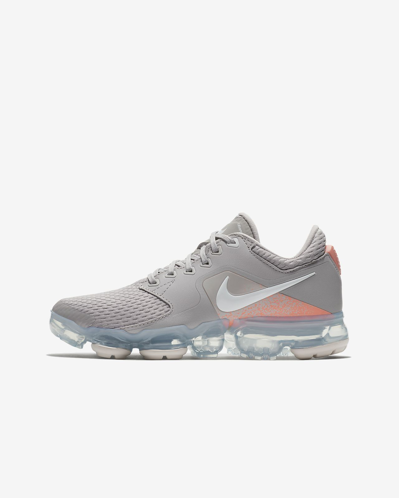 1889f7b33a9 Big Kids Nike Air VaporMax Running Shoe Atmosphere Grey Vast Grey Crimson  Pulse White - 917962-008