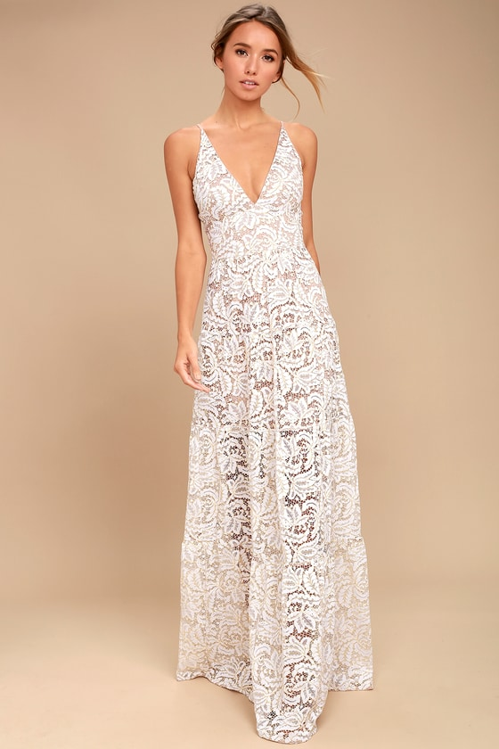 3f4838804 Make lasting memories in the Dress the Population Melina White Lace Maxi  Dress! Stunning floral lace creates this tiered maxi dress.