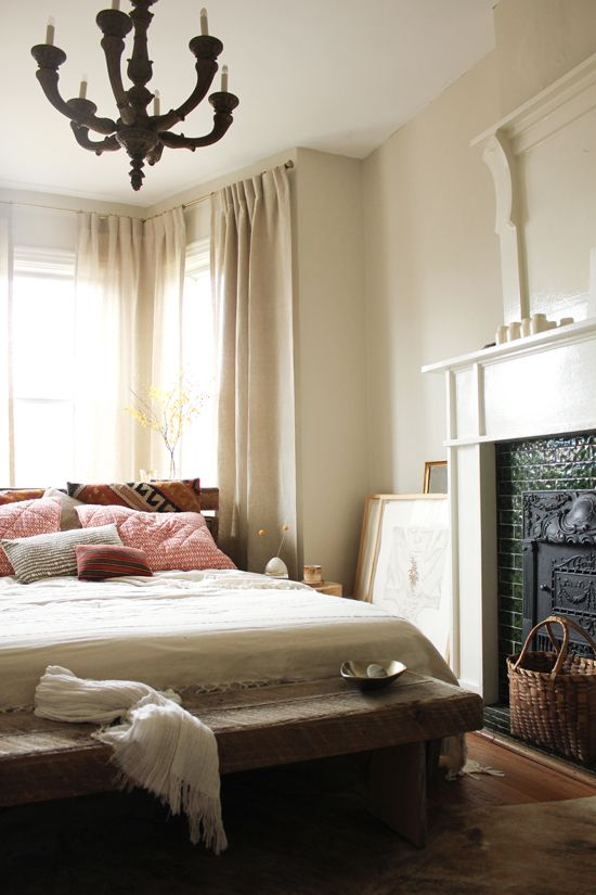 Marion House Bedroom || textiles, headboard, antique chandelier