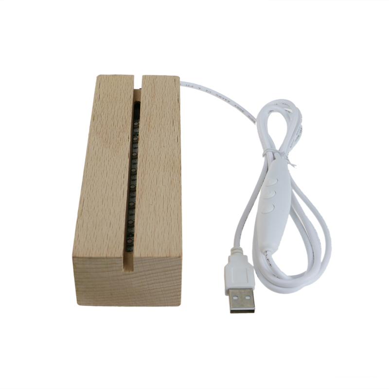Custom Made Wood Led Lamp Base For Acrylic Crystal Plates Lb10