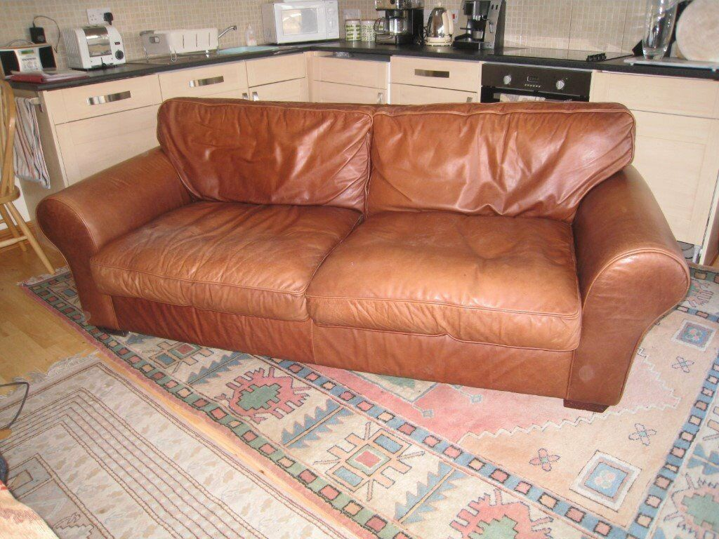 Laura Ashley Bradford Character Leather Sofa Large Two Seater In