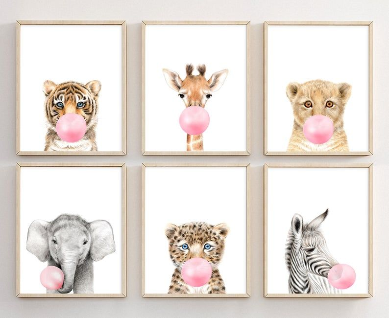 Nursery Wall Art Animal Bubble Gum Animals Bubblegum Set Of 6