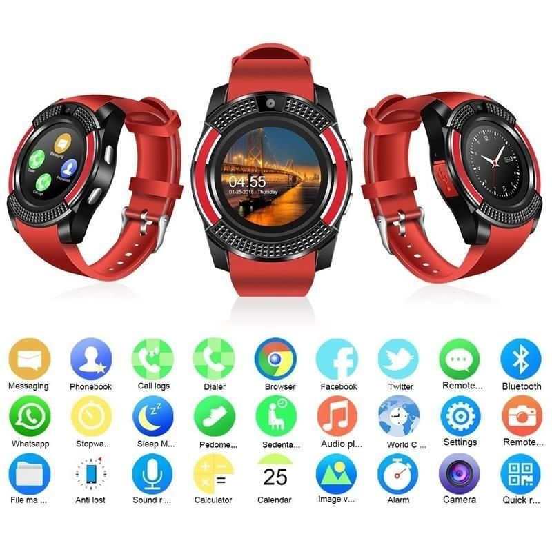 V8 Sport Smart Watch Phone Mate Round Touch Screen Sim Gsm Smartphones For Android Ios Suitable For Men Women St Camera Watch Smart Watch Smartwatch Bluetooth