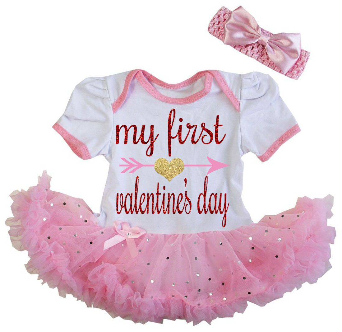 a1ea0a6de2f9 Cute 2 Piece Pink Baby s First Valentine s Day Glitter Baby Girl ...