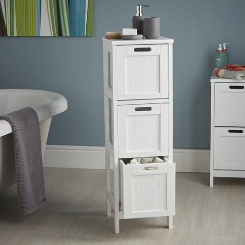 Shaker Style 3 Drawer Bathroom Storage Unit in White | Bathroom ...
