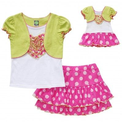 Pink polka dot skirt set