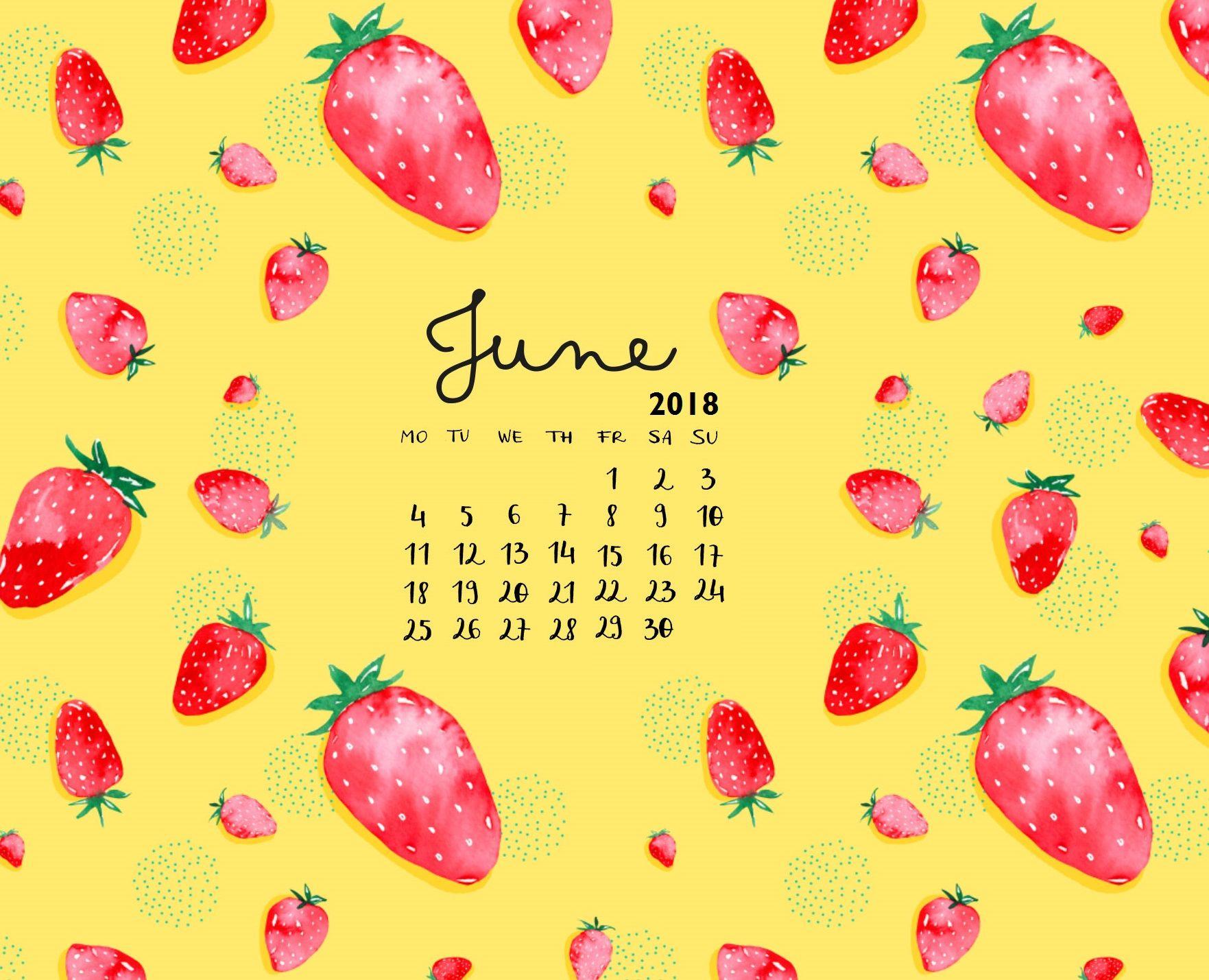 Cute June 2018 iPhone Calendar Calendar wallpaper, June
