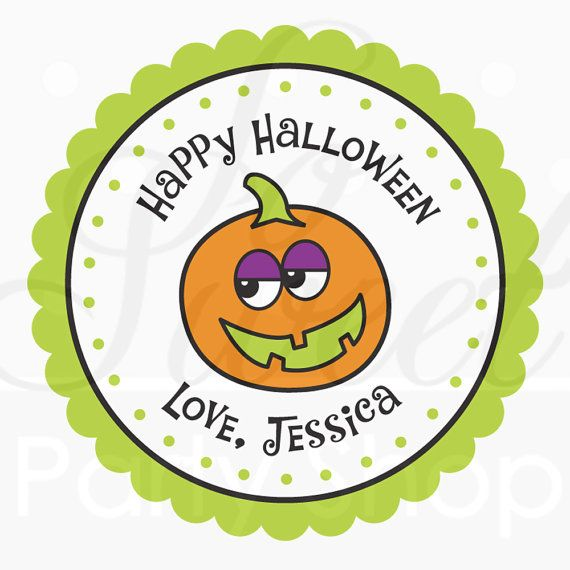24 Halloween Personalized Stickers  Pumpkin  by sosweetpartyshop, $6.00