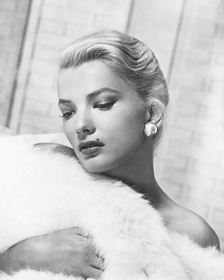 "steroge: ""Gena Rowlands wrapped in white fur in a studio portrait, c. 1955 """