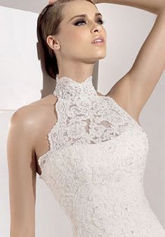 high neck lace wedding gown | :D | Pinterest | Lace wedding gowns ...