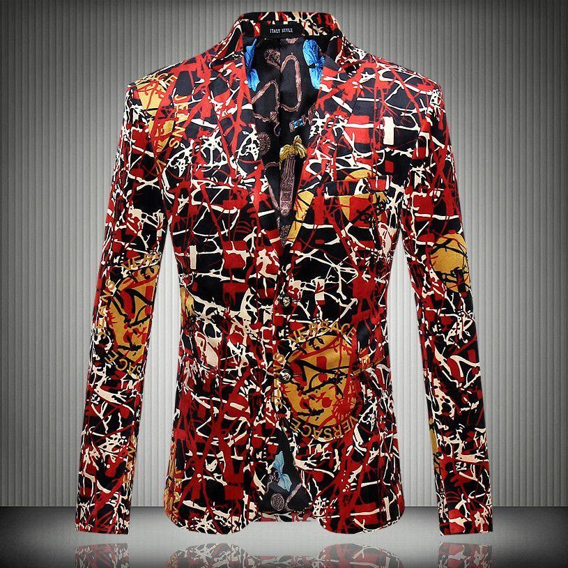 e3c54f4c5f8 2016 new Flower blazer suits jacket male slim fashion men s fashion  personality flat flannelette print coat high quality prom groom