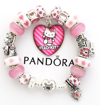 53f5d259a Authentic Pandora Bracelet Heart Clasp Silver HELLO KITTY Pink European  Charms