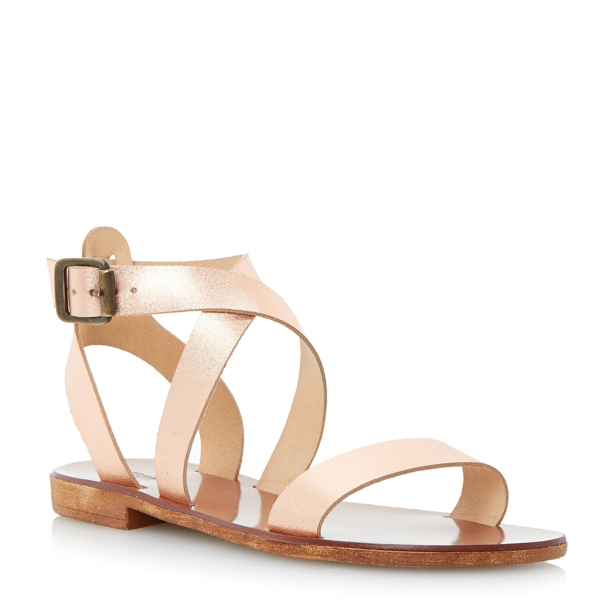 21c964a37 DUNE LADIES LOTTI - Leather Cross Over Strap Flat Sandal - rose gold ...