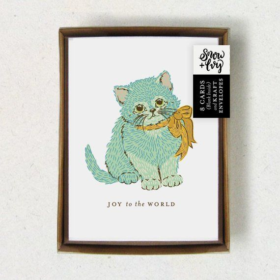 Boxed Christmas Cards \u2022 Blue Kitten Holiday Cards \u2022 Box Set of 8