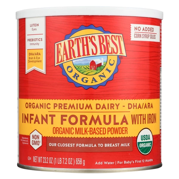 Earth S Best Organic Infant Formula With Iron Case Of 4 23 2 Oz Eureka Market Online Baby Formula Earth S Best Organic Dairy