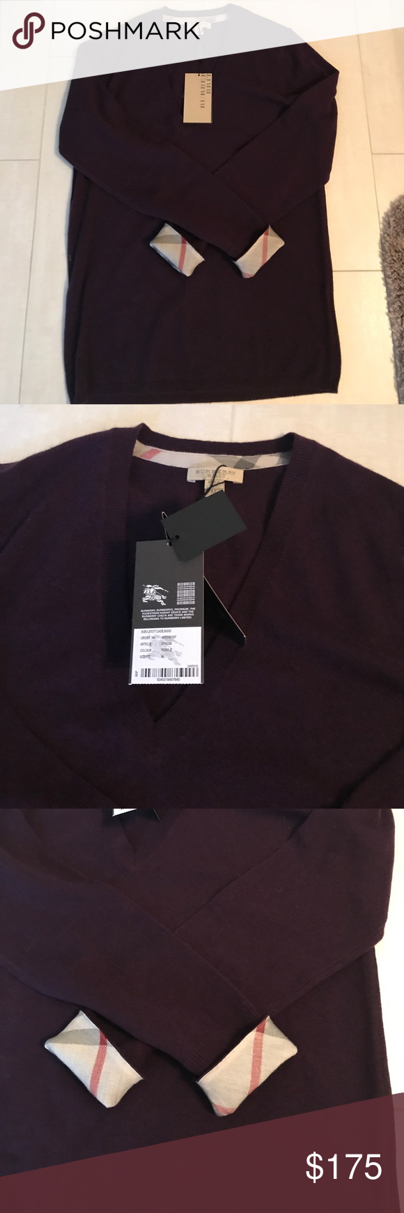 Brand new Burberry Brit v-neck cashmere sweater NWT | Burberry ...