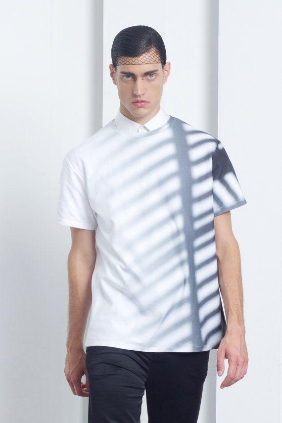 Mens shirt Mens white shirt short sleeve shirt by EliranNargassi