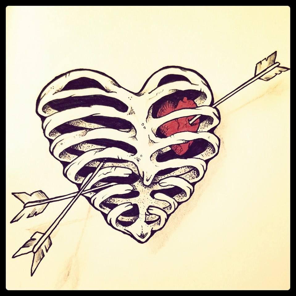 Ribcage Heart By Cba Heart Tattoo Heart Sketch Heart Art