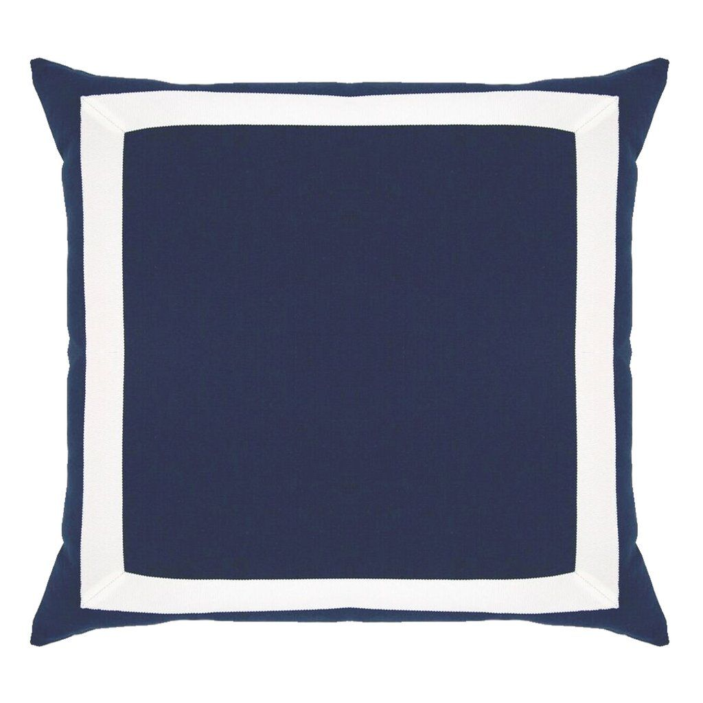The Colorful Frame Pillow Lo Home Navy Blue Linen Square Throw Pillow With White Ribbon Trim Classic Meet Colorful Frames Pillows Navy Blue Accent Pillows